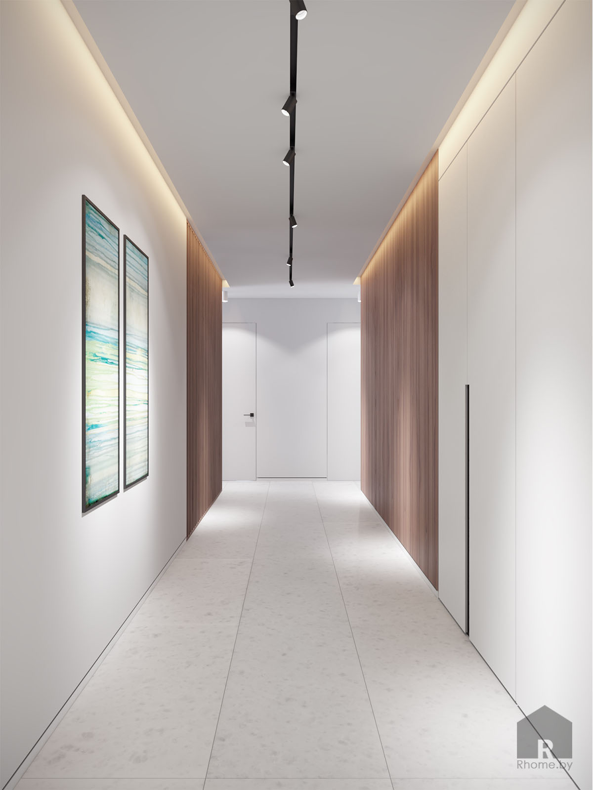 Дизайн интерьера коридора в ЖК «Браславский» | Дизайн студия – Rhome.by