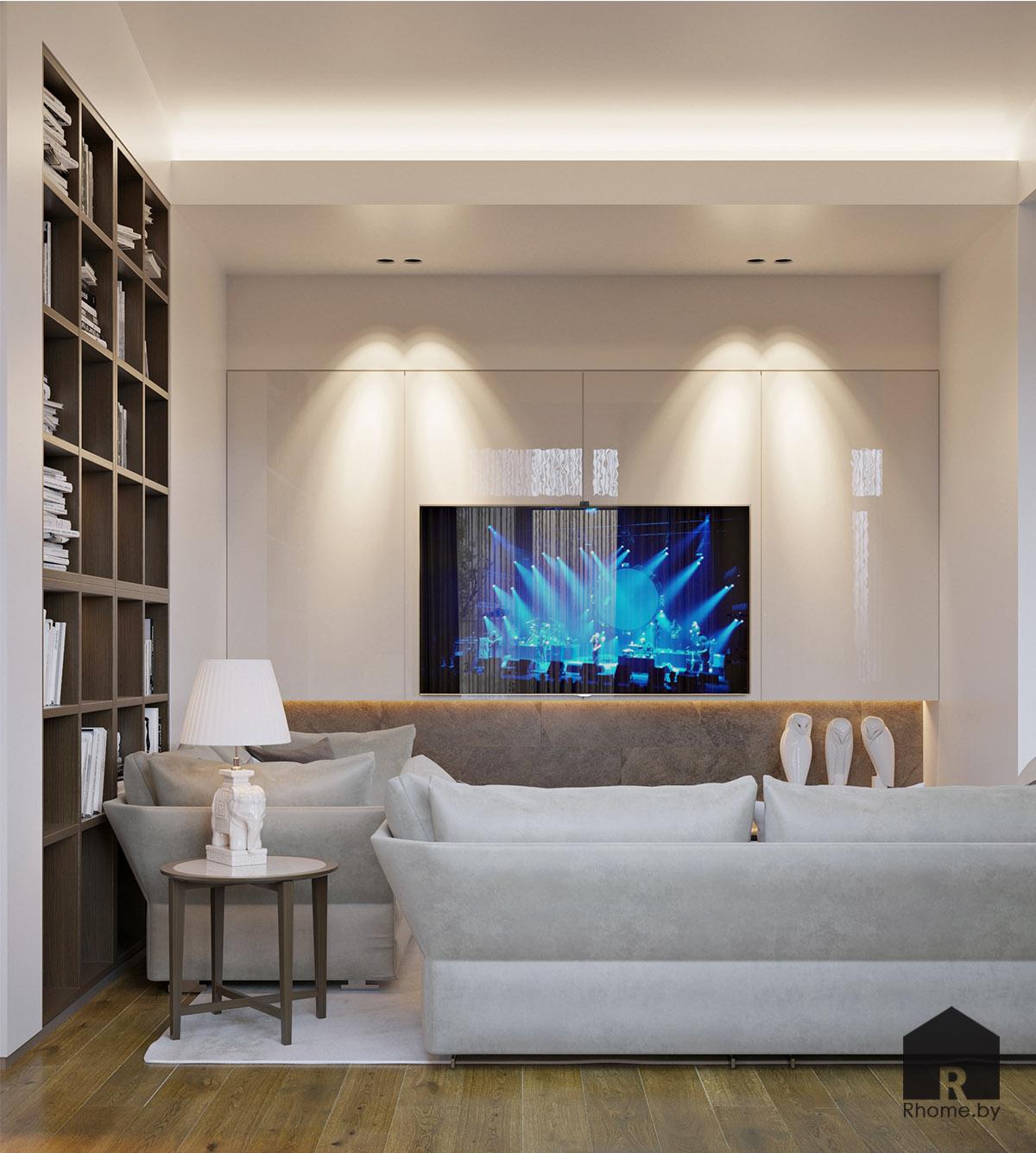 Дизайн интерьера гостиной в Березовой роще | Дизайн студия – Rhome.by