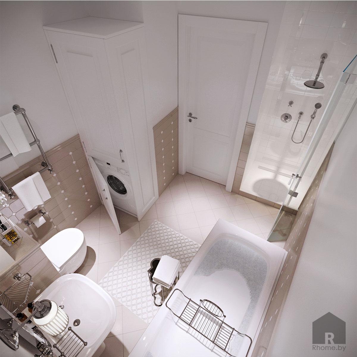 Дизайн интерьера туалета в ретро стиле 50 годов | Дизайн студия – Rhome.by