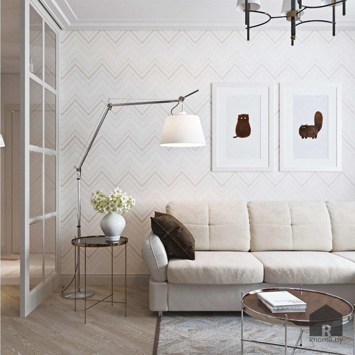 Дизайн интерьера гостиной по ул. Белинского | Дизайн студия – Rhome.by