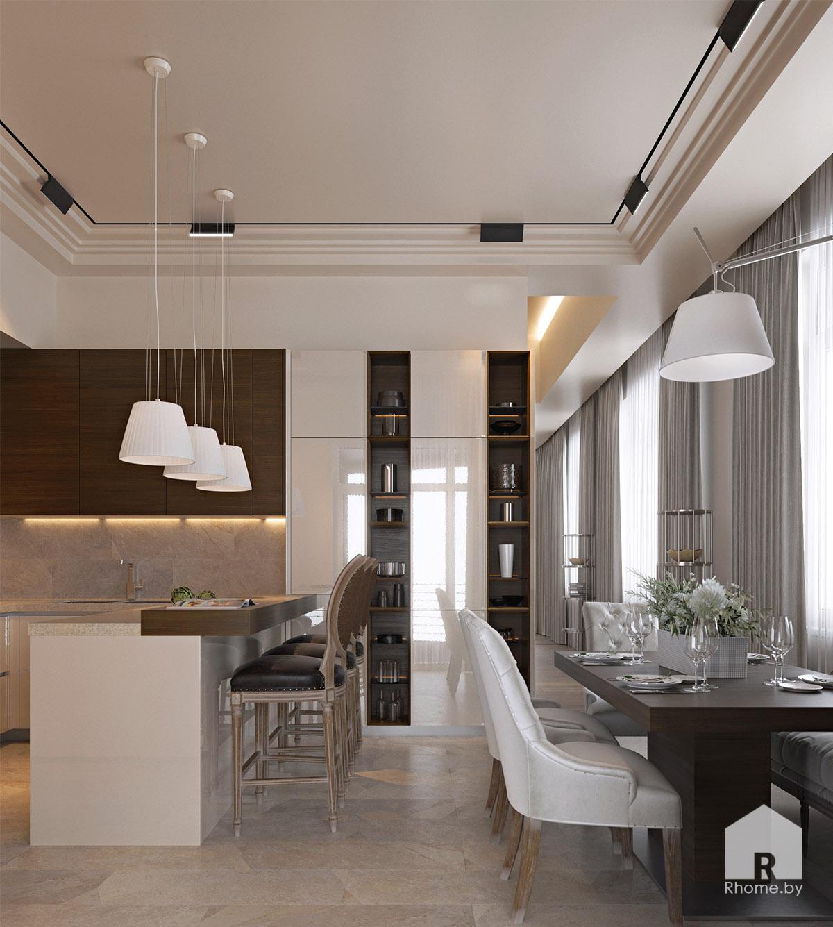 Дизайн интерьера кухни в Березовой роще | Дизайн студия – Rhome.by