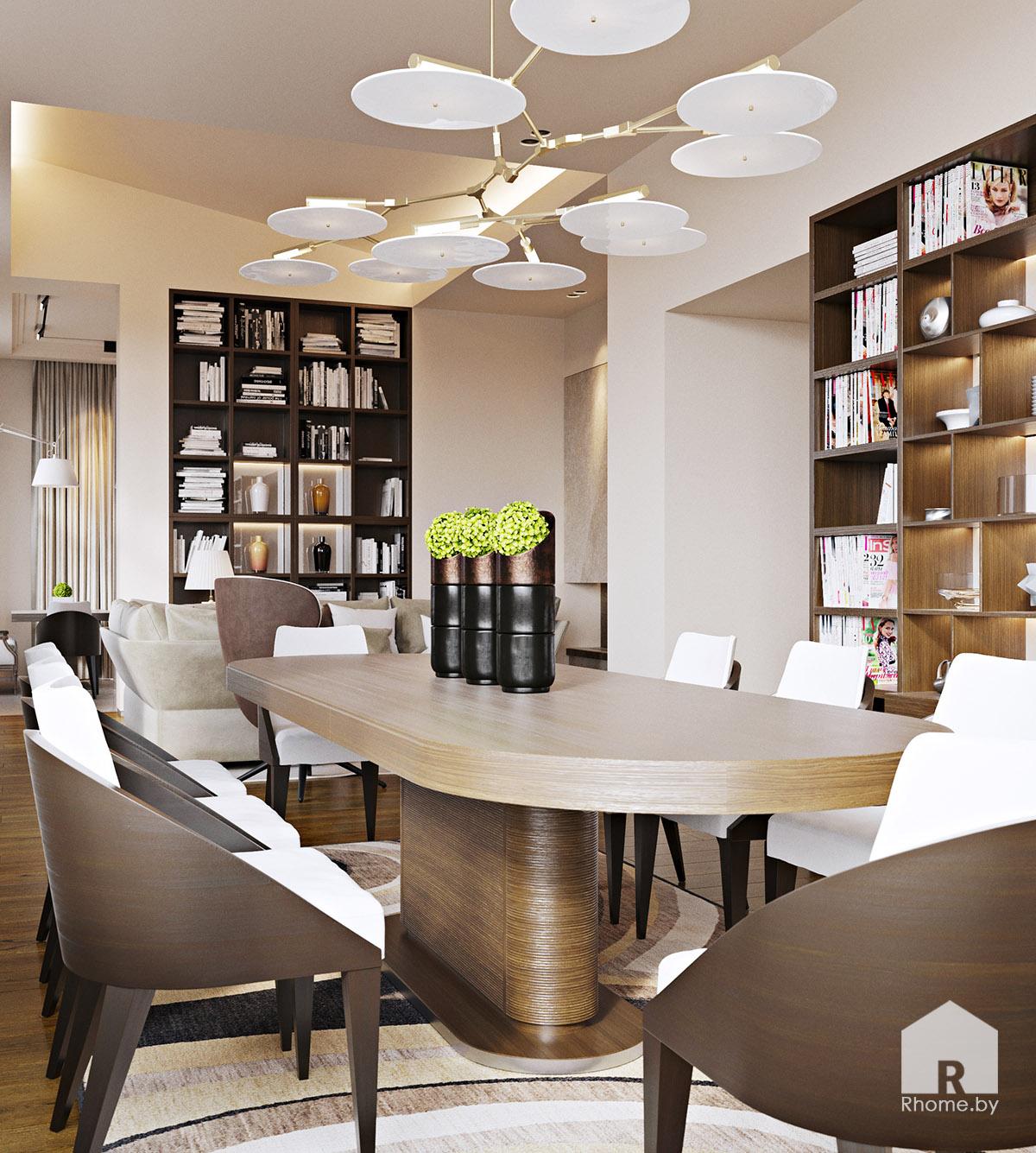 Дизайн интерьера столовой комнаты в Березовой роще | Дизайн студия – Rhome.by