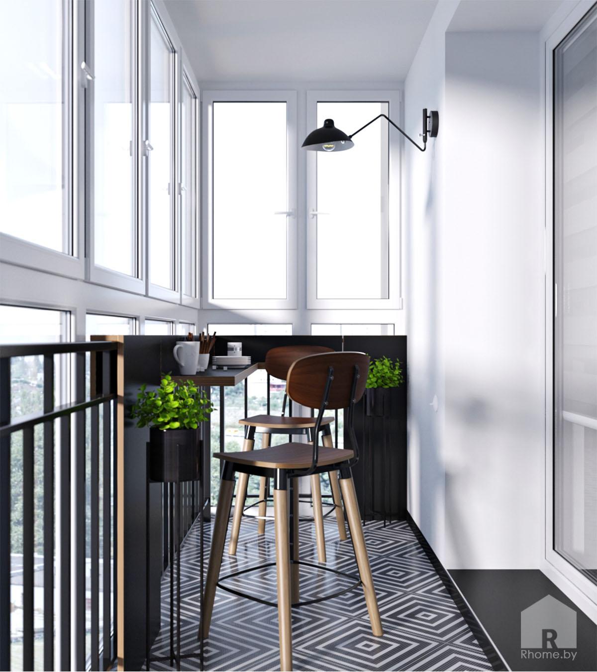 Дизайн интерьера балкона в ретро стиле 50 годов | Дизайн студия – Rhome.by