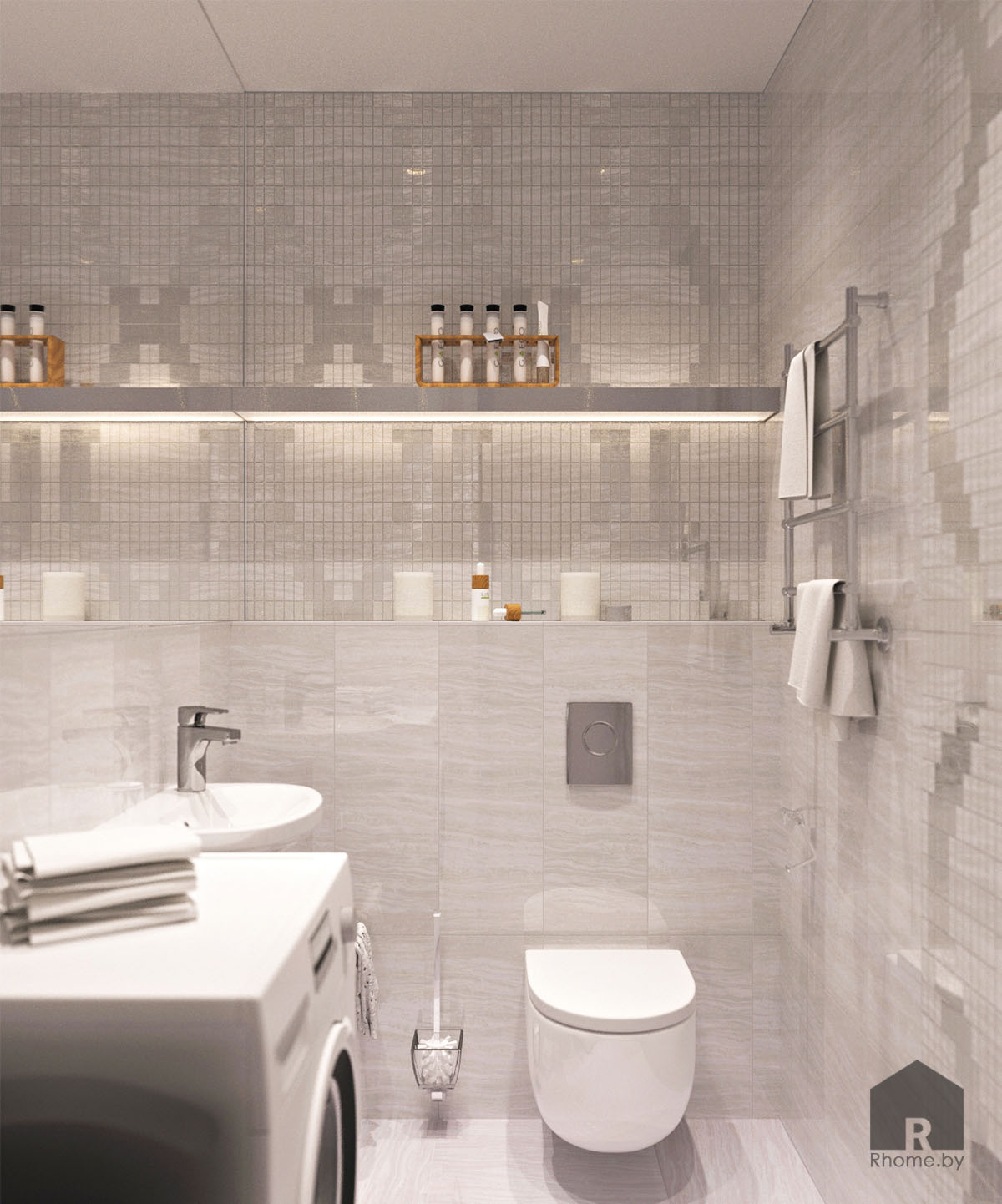 Дизайн интерьера туалета по ул. Белинского | Дизайн студия – Rhome.by