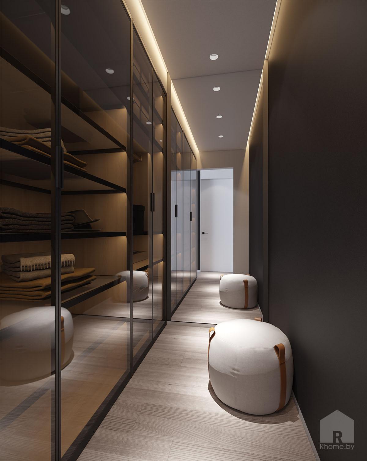 Дизайн интерьера гардеробной в ЖК «Браславский» | Дизайн студия – Rhome.by