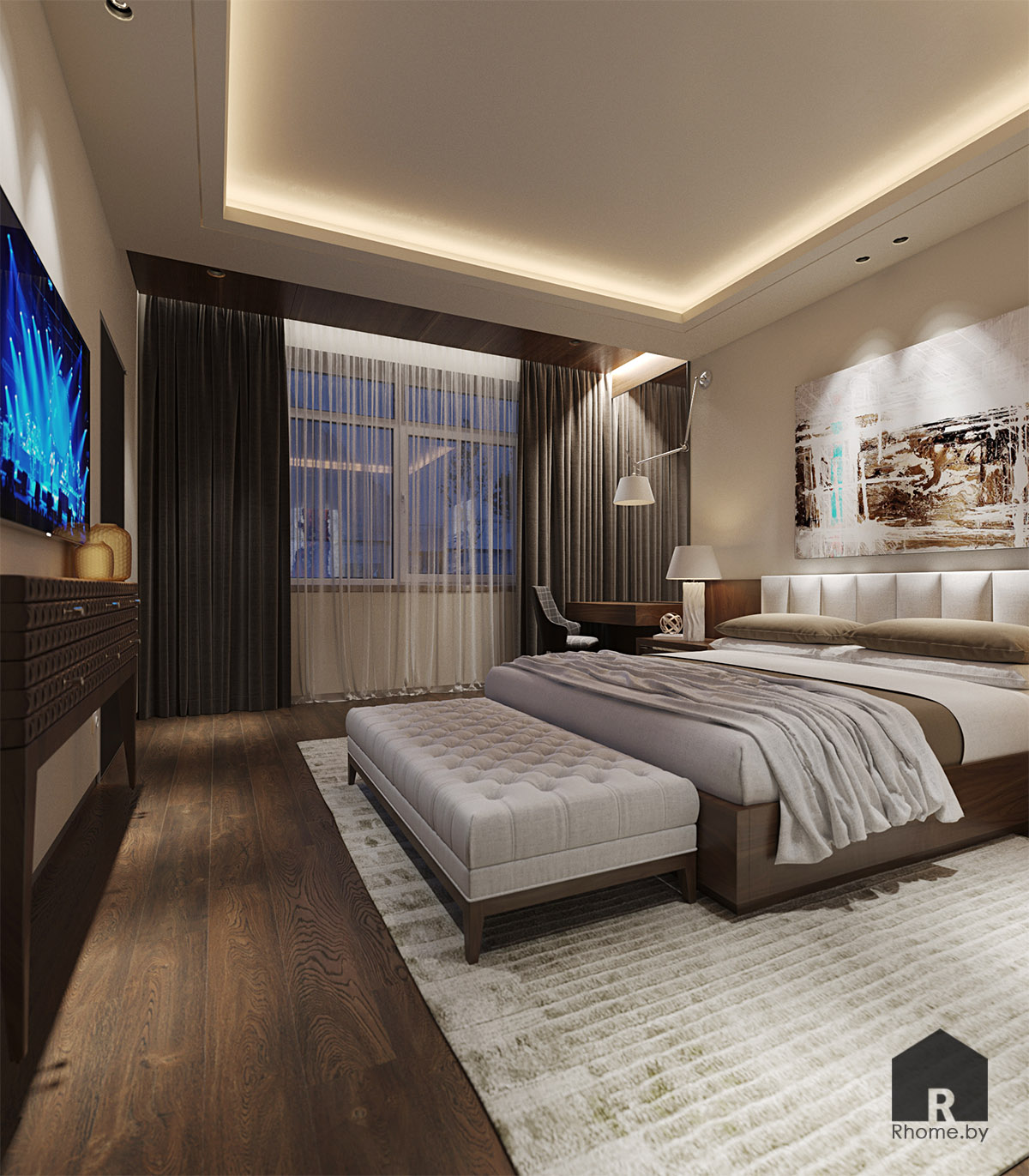 Дизайн интерьера спальни в Березовой роще | Дизайн студия – Rhome.by