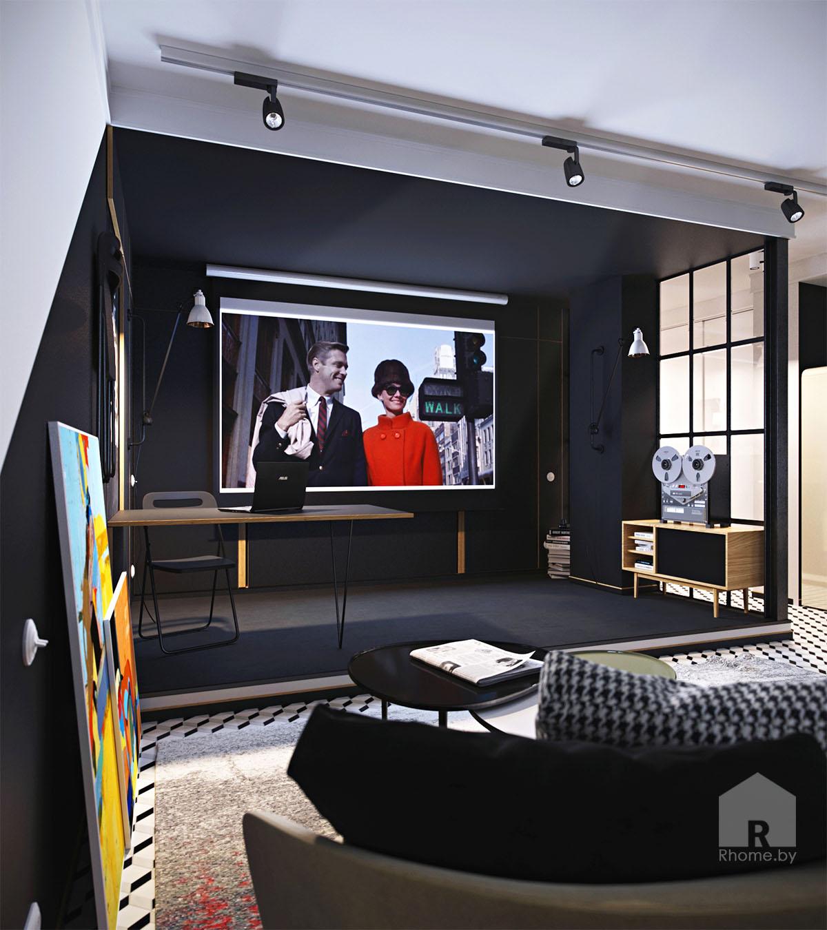 Дизайн интерьера гостиной в ретро стиле 50 годов | Дизайн студия – Rhome.by