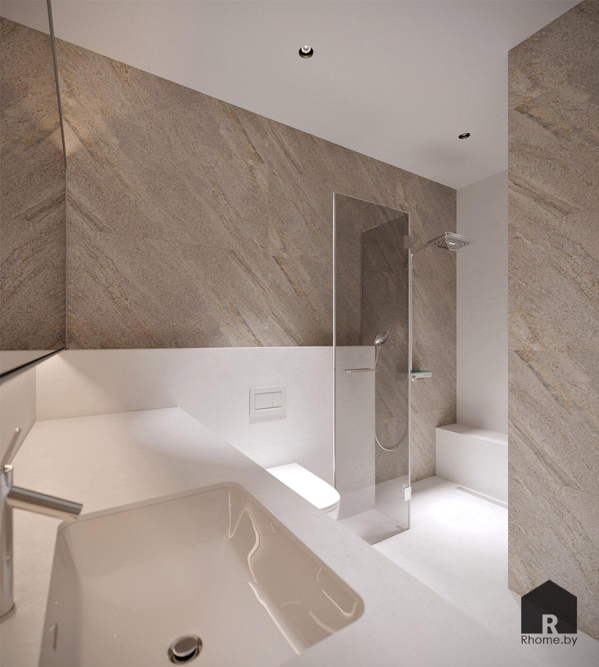 Дизайн интерьера туалета в Березовой роще | Дизайн студия – Rhome.by