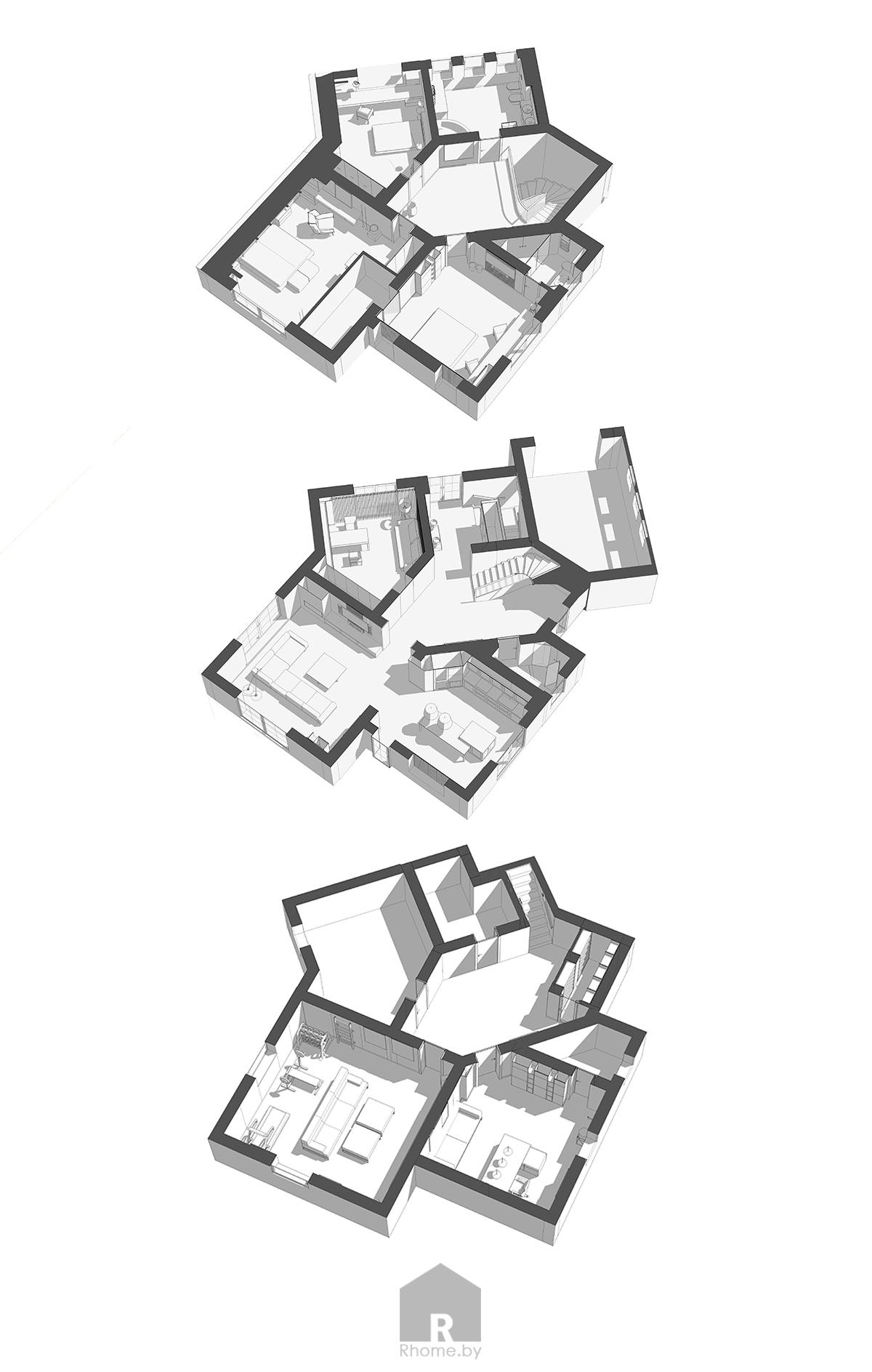 Планировка дома в Раубичах | Дизайн студия – Rhome.by
