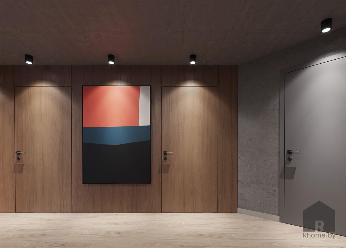 Дизайн интерьера холла цокольного этажа | Дизайн студия – Rhome.by