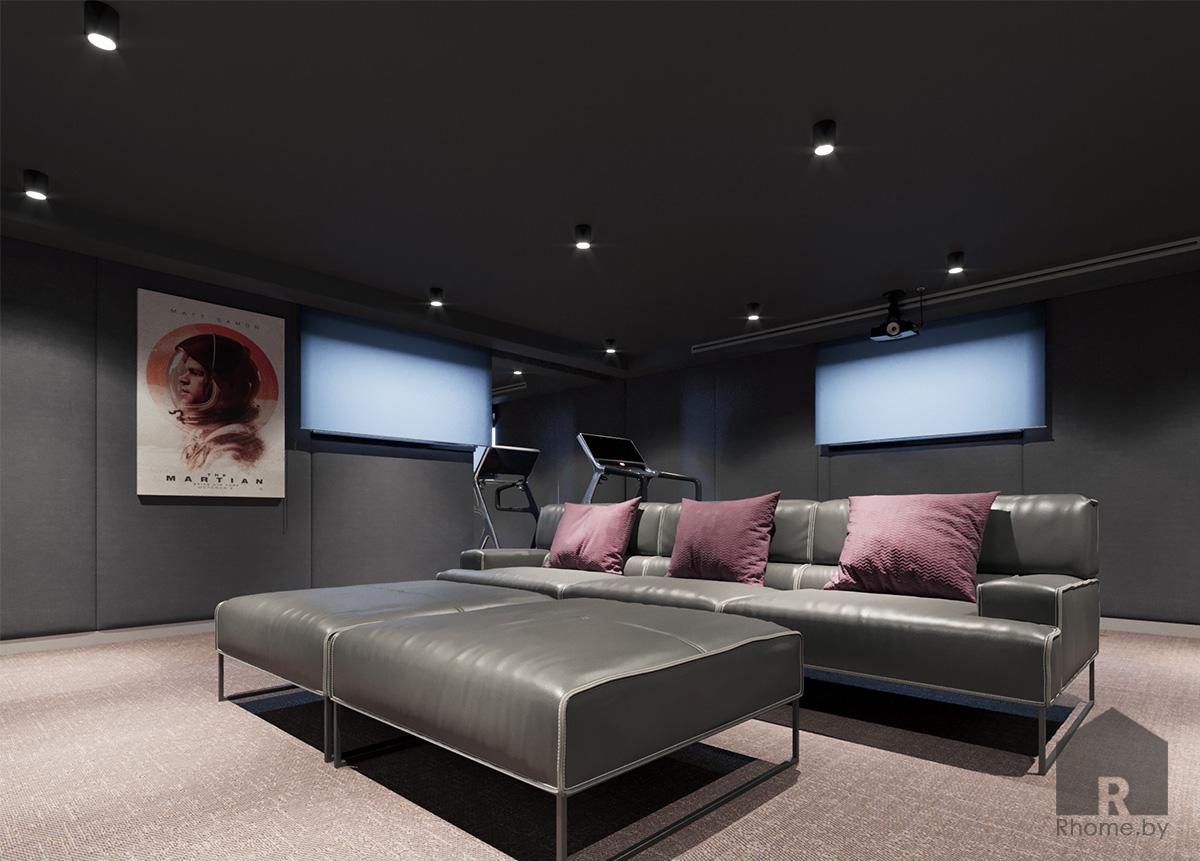Дизайн интерьера домашнего кинотеатра | Дизайн студия – Rhome.by