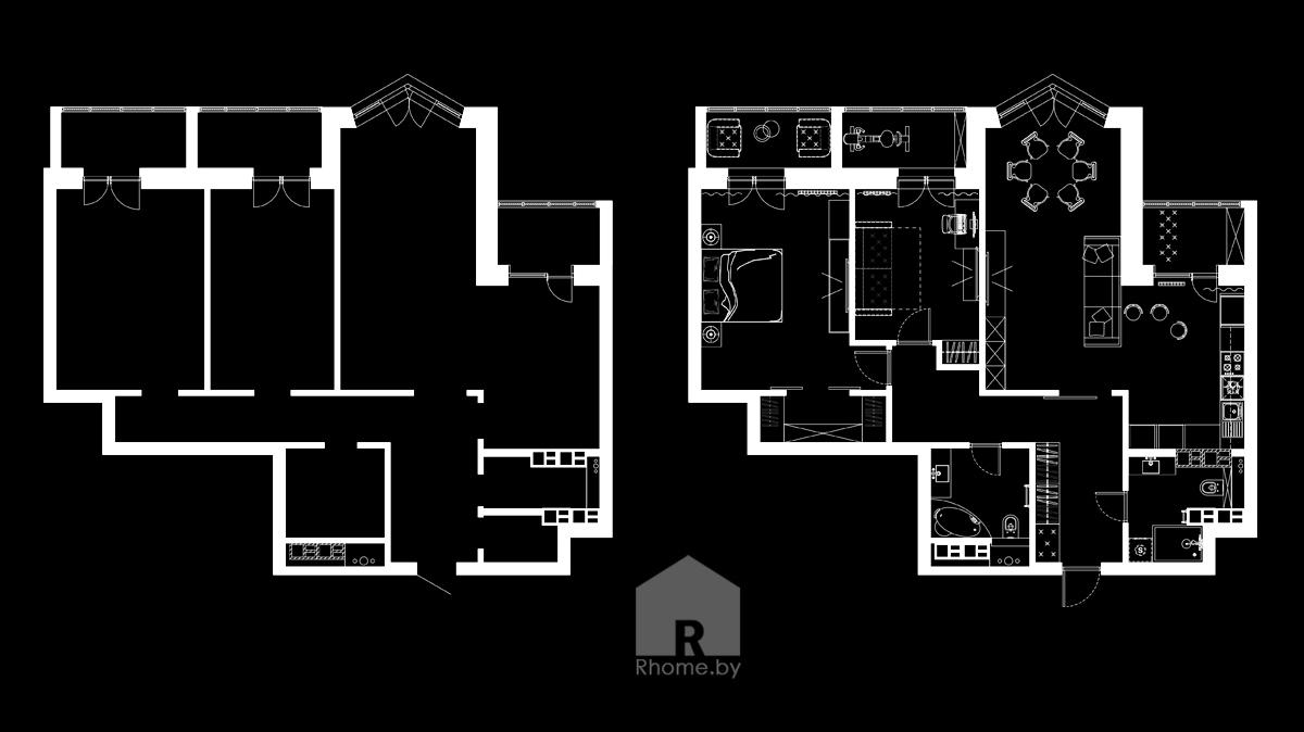 Планировка квартиры на ул. Беломорская | Дизайн студия – Rhome.by
