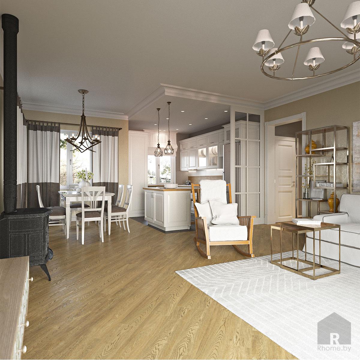 Дизайн интерьера гостиной в доме в Зацени | Дизайн студия – Rhome.by