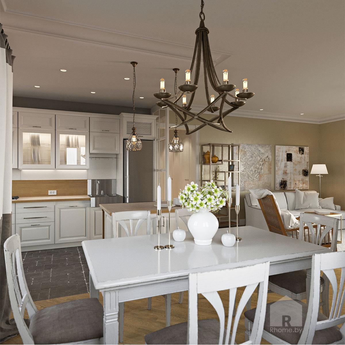 Дизайн интерьера кухни в доме в Зацени | Дизайн студия – Rhome.by