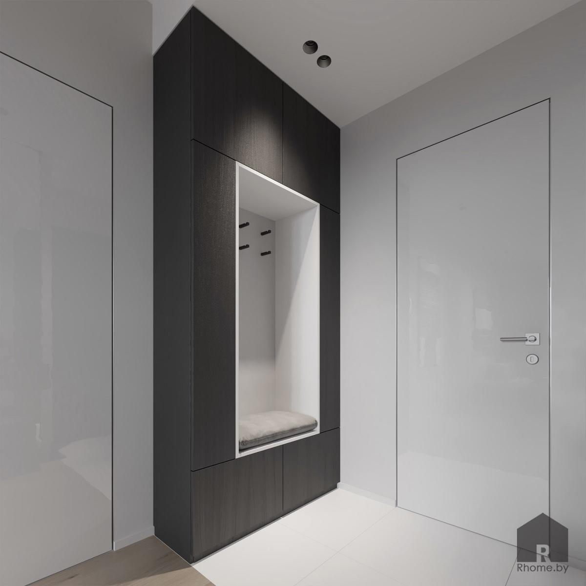 Дизайн интерьера прихожей в квартире на улице Мстиславца | Дизайн студия – Rhome.by