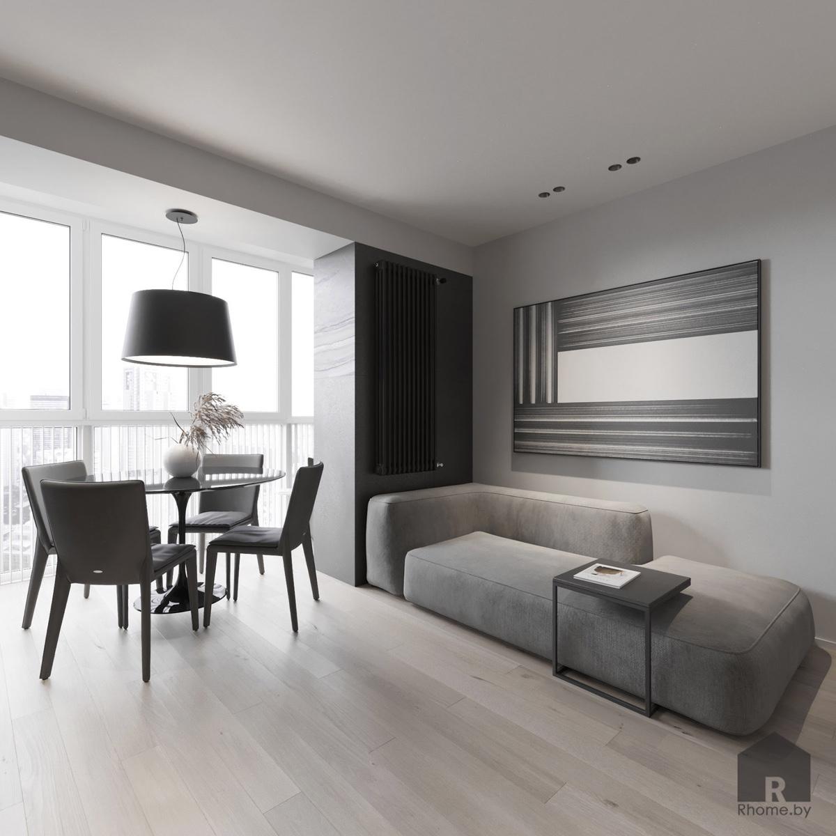 Дизайн интерьера гостиной в квартире на улице Мстиславца | Дизайн студия – Rhome.by