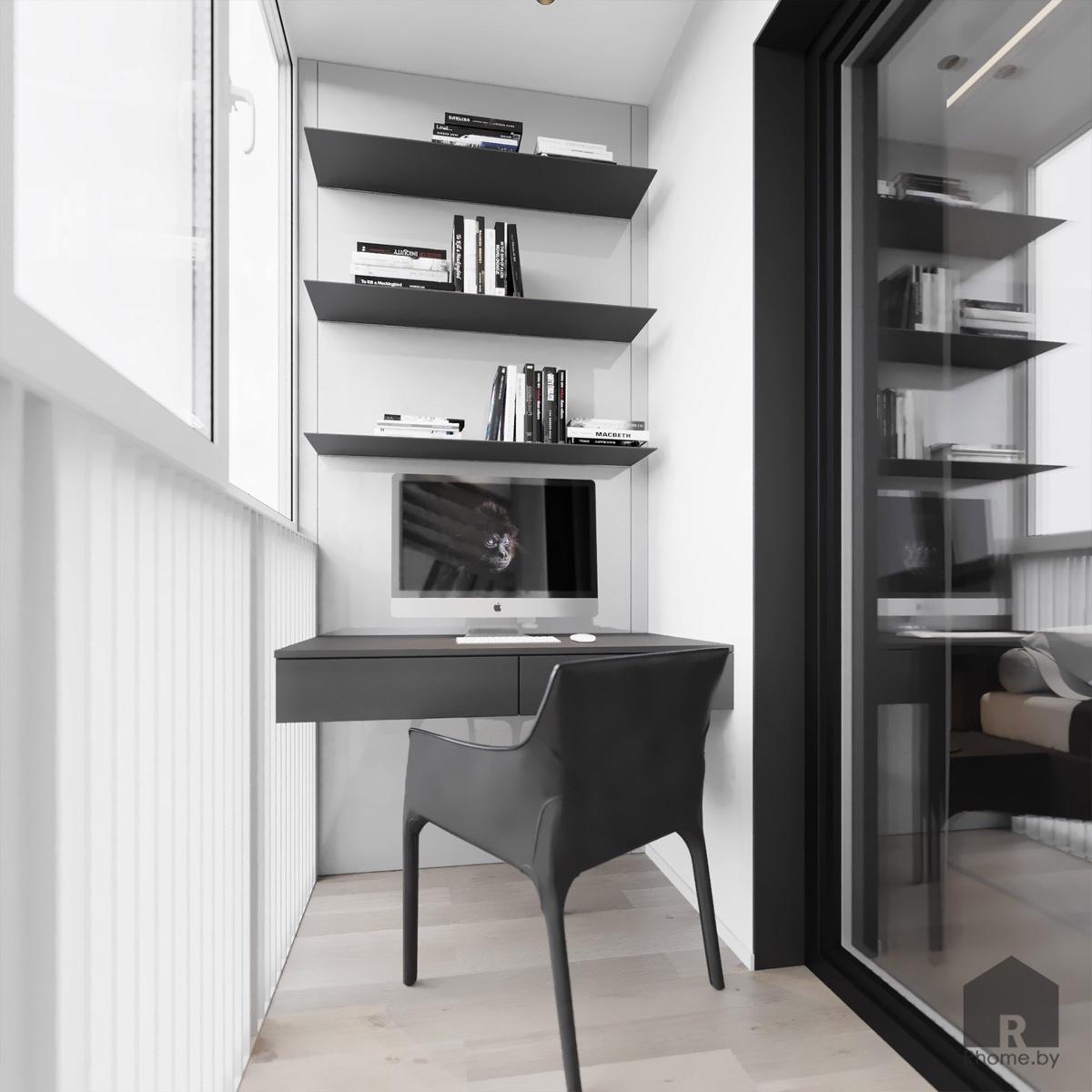Дизайн интерьера лоджии и балкона в квартире на улице Мстиславца | Дизайн студия – Rhome.by