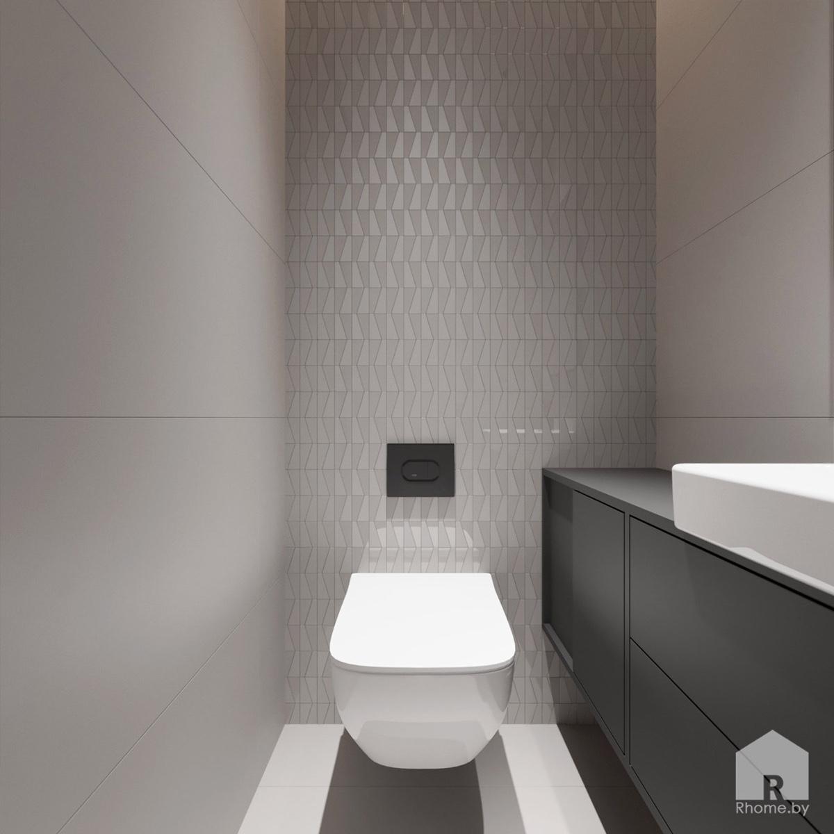 Дизайн интерьера санузла в квартире на улице Мстиславца | Дизайн студия – Rhome.by