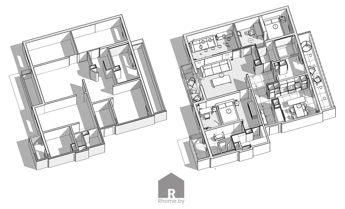Планировка квартиры в Борисове в темных тонах | Дизайн студия – Rhome.by