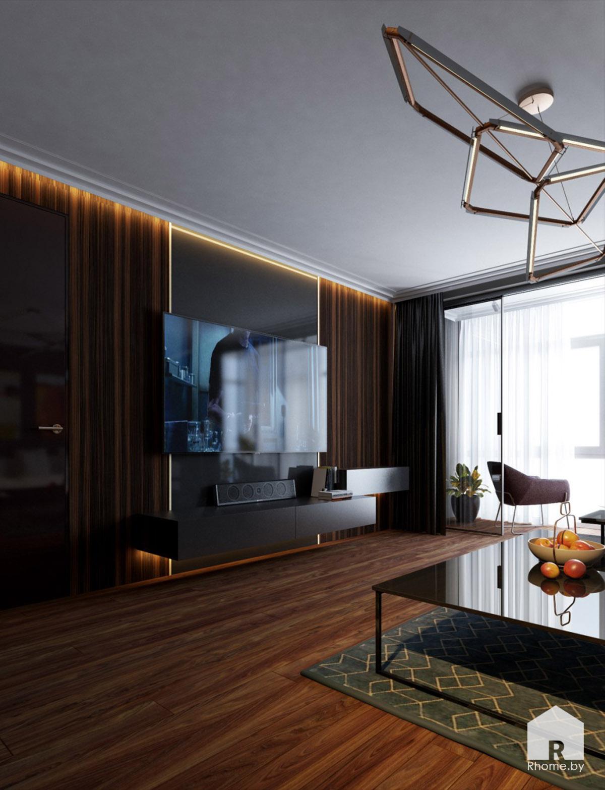 Дизайн гостиной в Борисове в темных тонах | Дизайн студия – Rhome.by