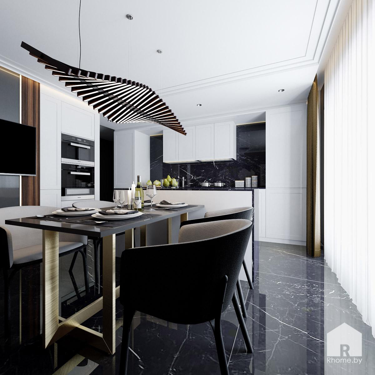 Дизайн кухни в Борисове в темных тонах | Дизайн студия – Rhome.by