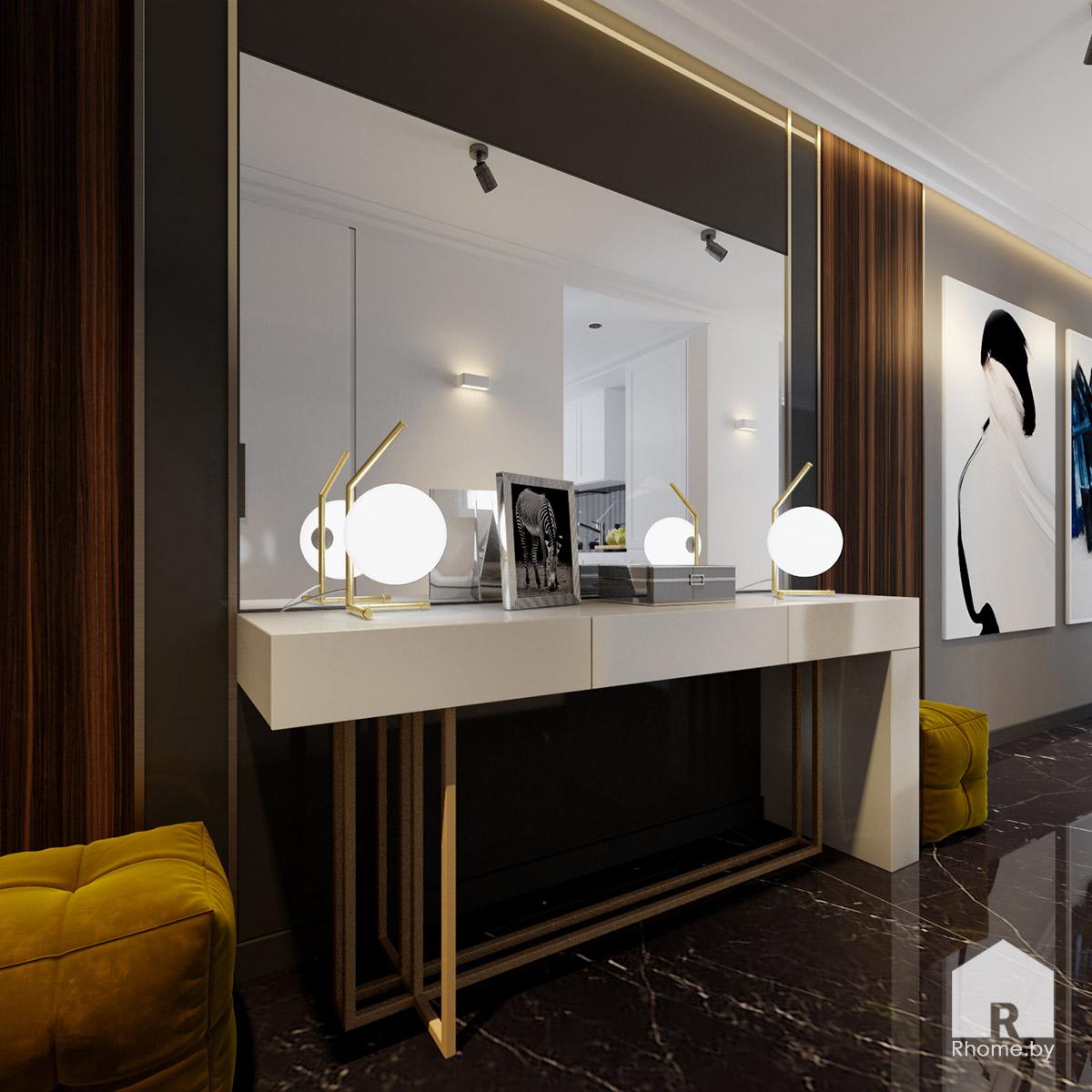 Дизайн прихожей в Борисове в темных тонах | Дизайн студия – Rhome.by