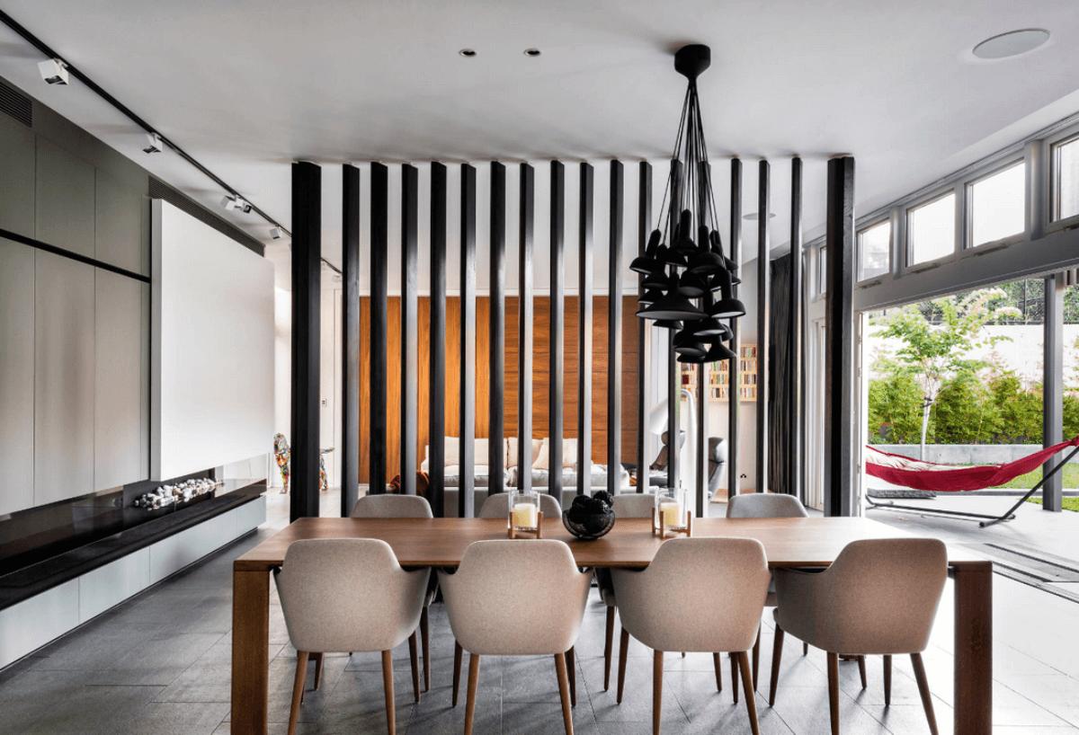 Зонирование пространства в интерьере: 5 самых популярных приемов, реечная конструкция