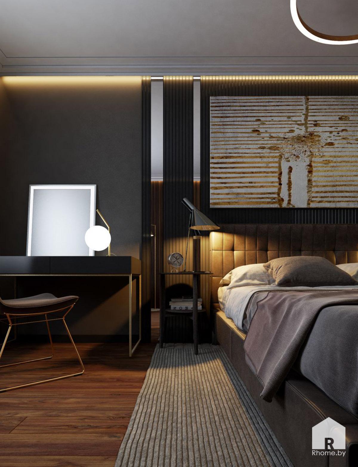 Дизайн спальни в Борисове в темных тонах | Дизайн студия – Rhome.by