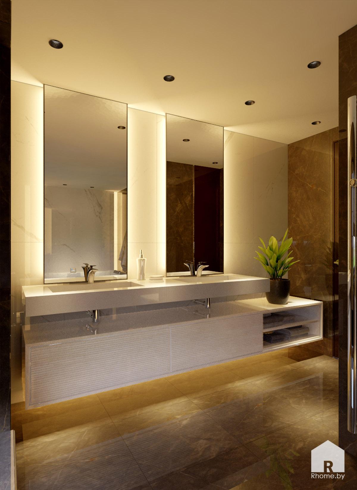 Дизайн ванной комнаты и санузела в Борисове в темных тонах | Дизайн студия – Rhome.by