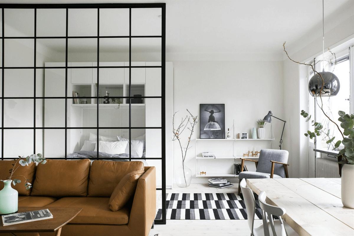 Зонирование пространства в интерьере: 5 самых популярных приемов, стеклянная перегородка
