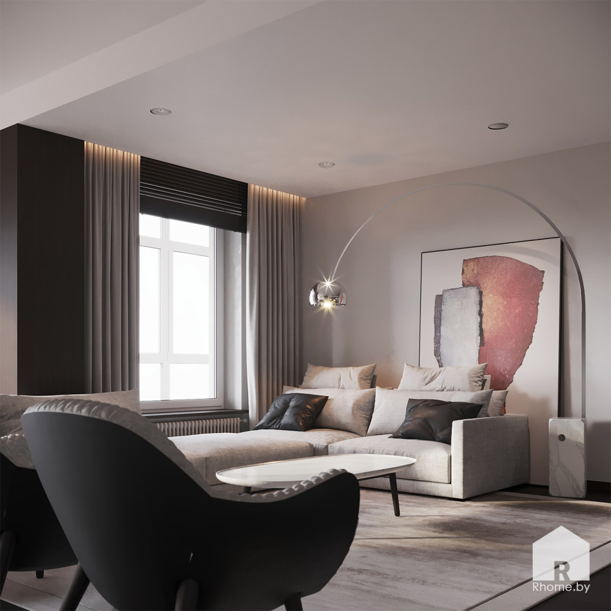 Дизайн интерьера гостиной в квартире на улице Сторожевская | Дизайн студия – Rhome.by