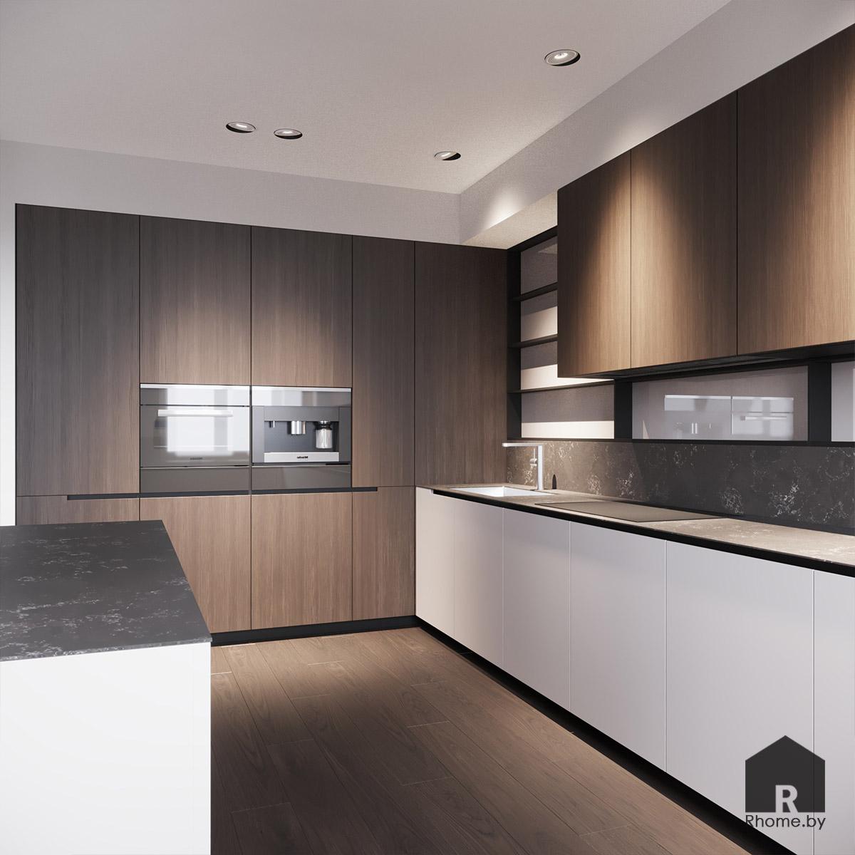 Дизайн интерьера кухни в квартире на улице Сторожевская | Дизайн студия – Rhome.by