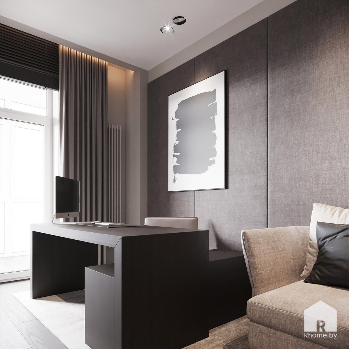 Дизайн интерьера кабинета в квартире на улице Сторожевская | Дизайн студия – Rhome.by