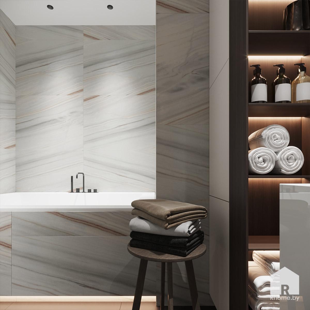 Дизайн интерьера ванной комнаты в квартире на улице Сторожевская | Дизайн студия – Rhome.by