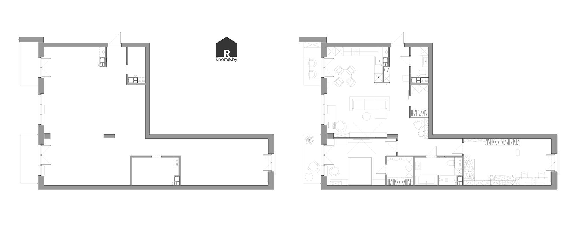 Планировка квартиры в ЖК «Олимпик Парк» | Дизайн студия – Rhome.by