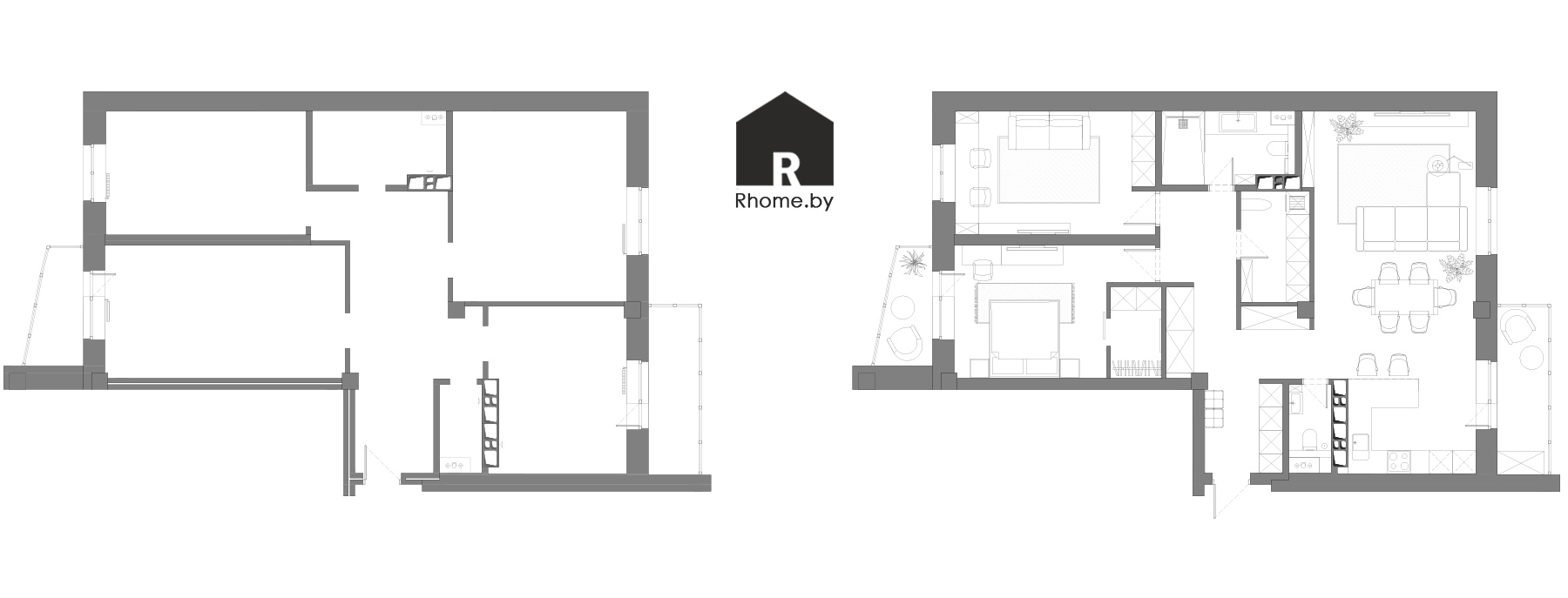 Планировка квартиры на проспекте Дзержинского | Дизайн студия – Rhome.by