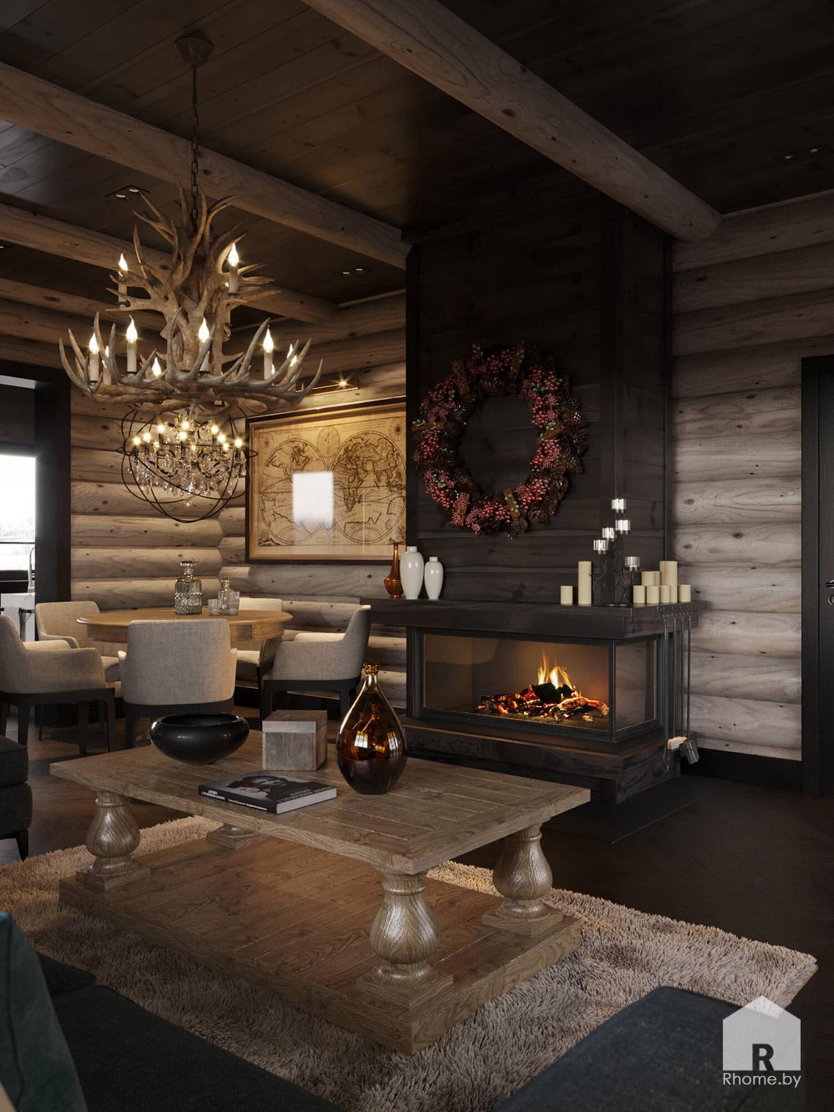 Гостиная загородный дом | Дизайн студия – Rhome.by