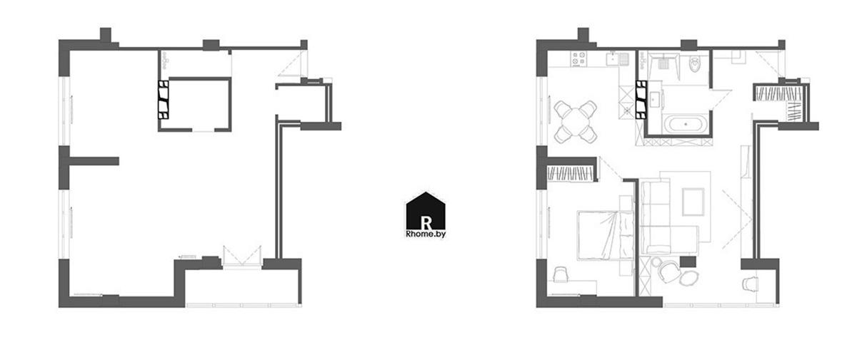 Планировка квартиры в ЖК «Чайковский» | Дизайн студия – Rhome.by