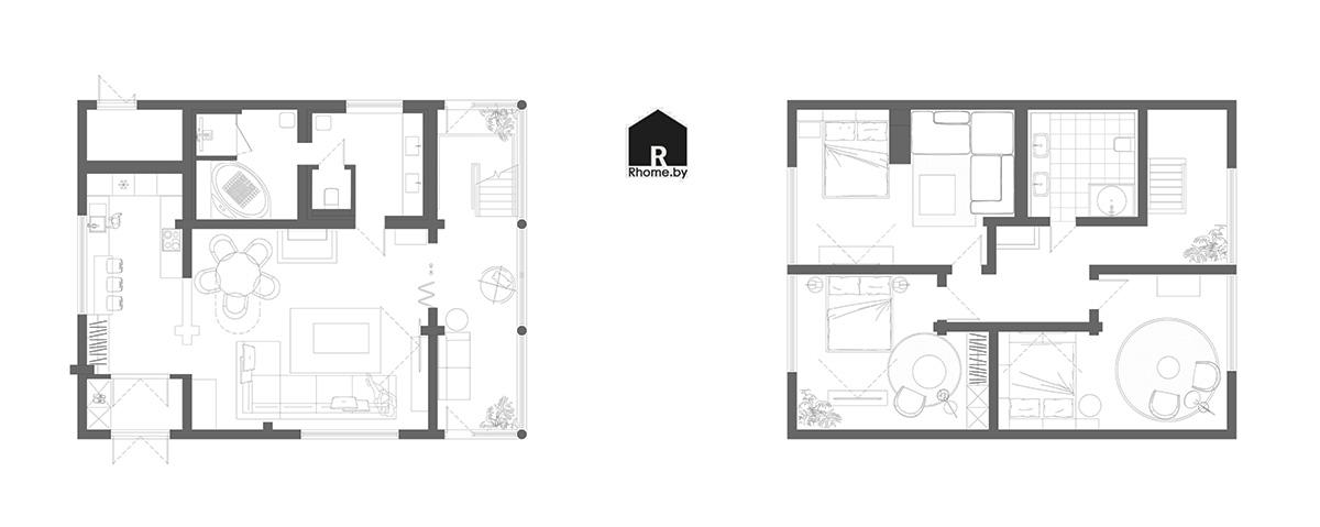 Планировка загородный дом | Дизайн студия – Rhome.by
