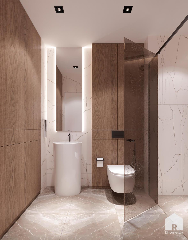 Светлая ванная комната с деревянными элементами