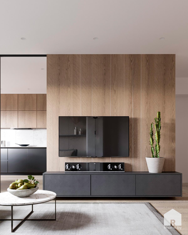 Светлая гостиная с деревянной стеной и ТВ-зоной