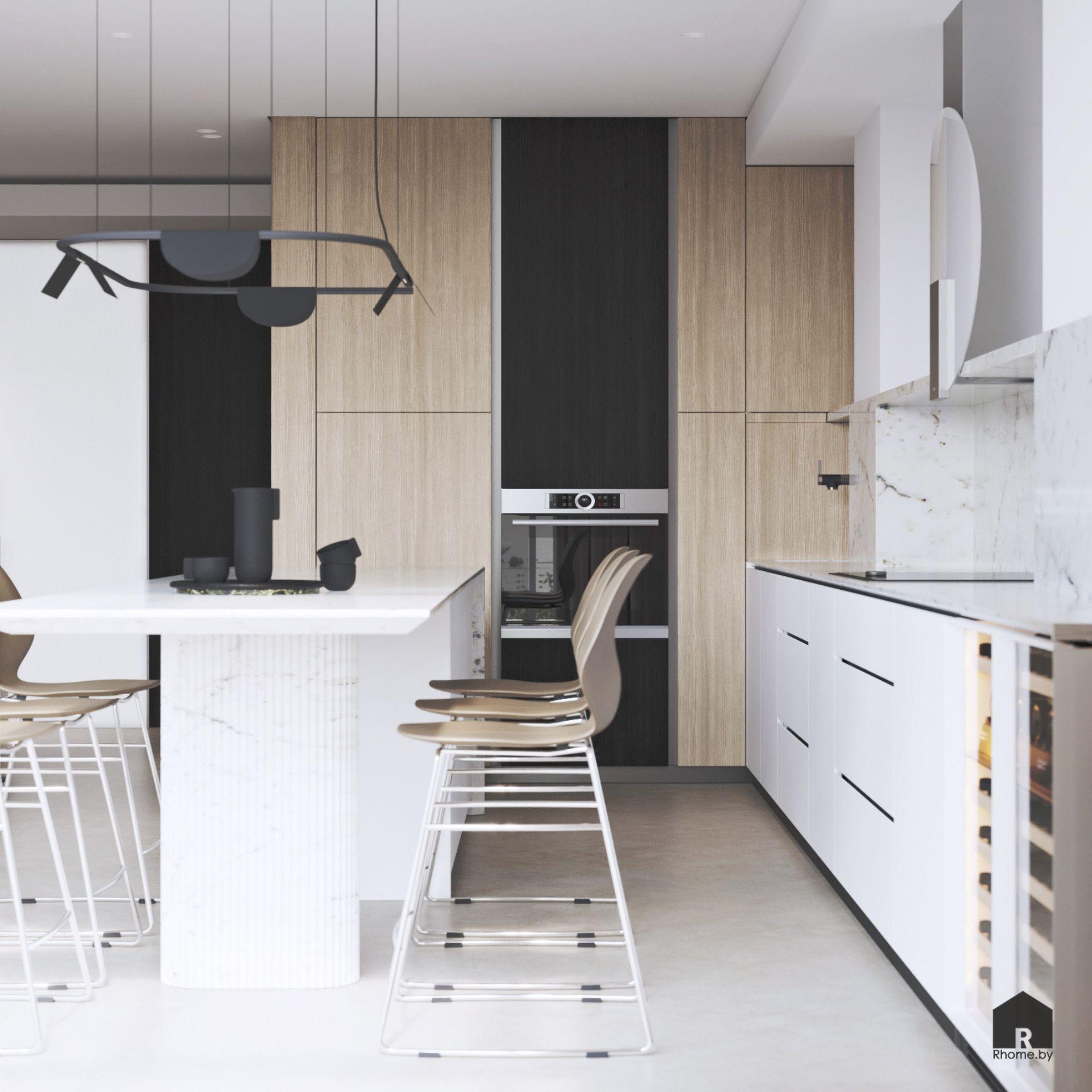 Белая кухня со столом островом и барными стульями