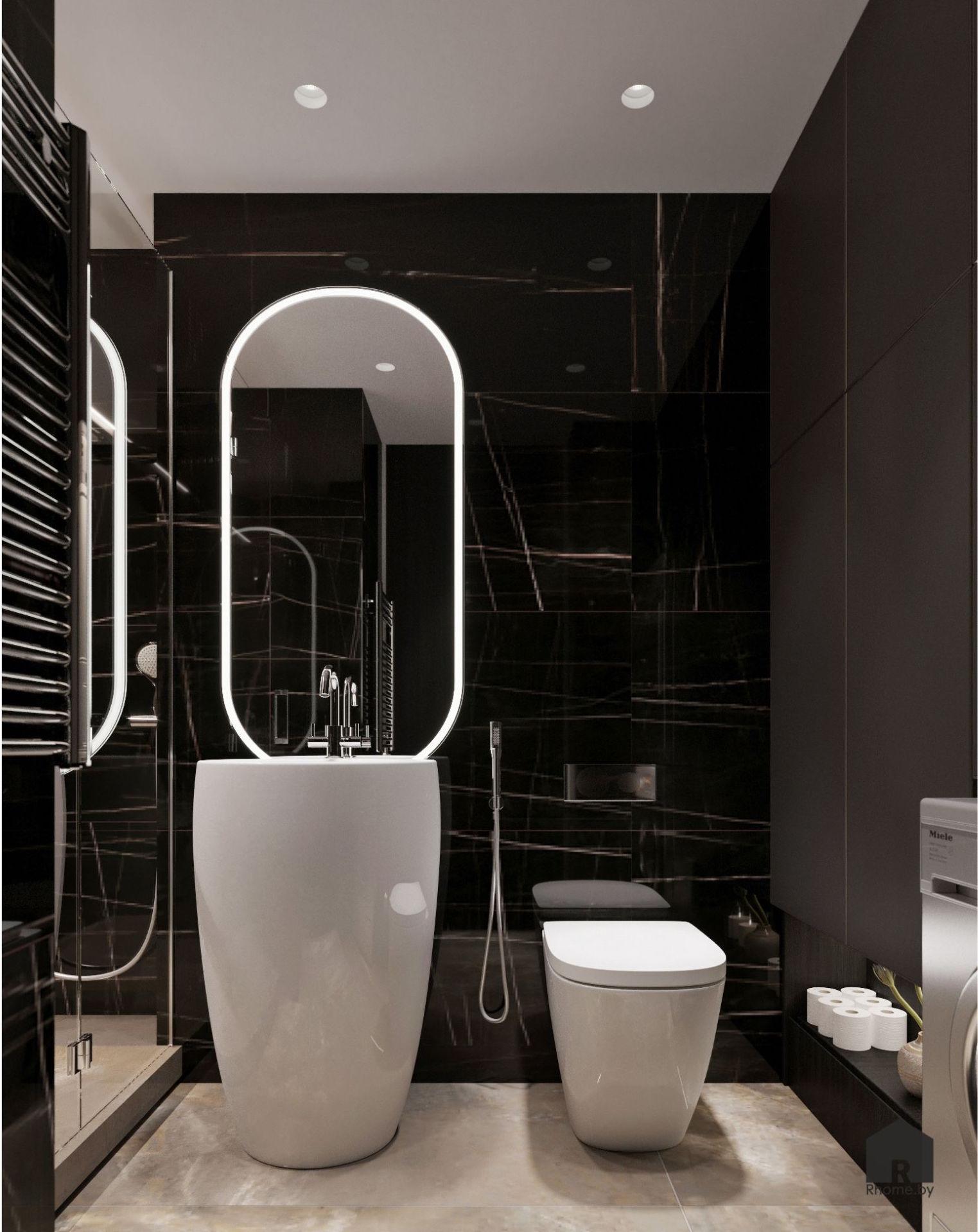 Черная ванная комната с раковиной-бочкой и овальным зеркалом с подсветкой