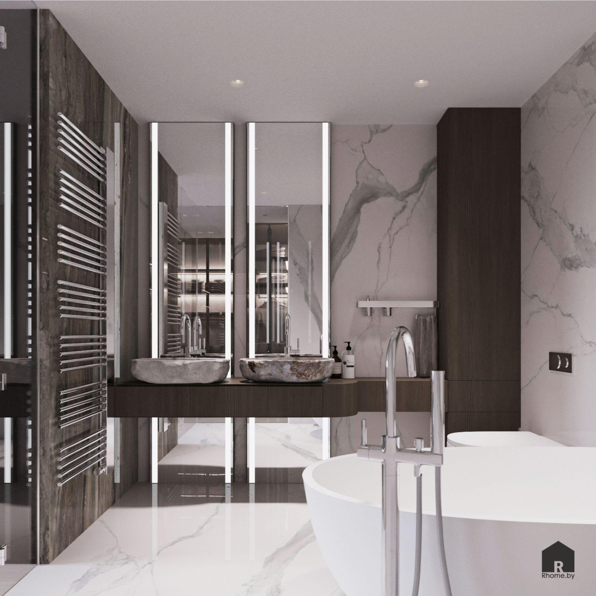 Светлая ванная комната с плиткой под камень и зеркалами с подсветкой
