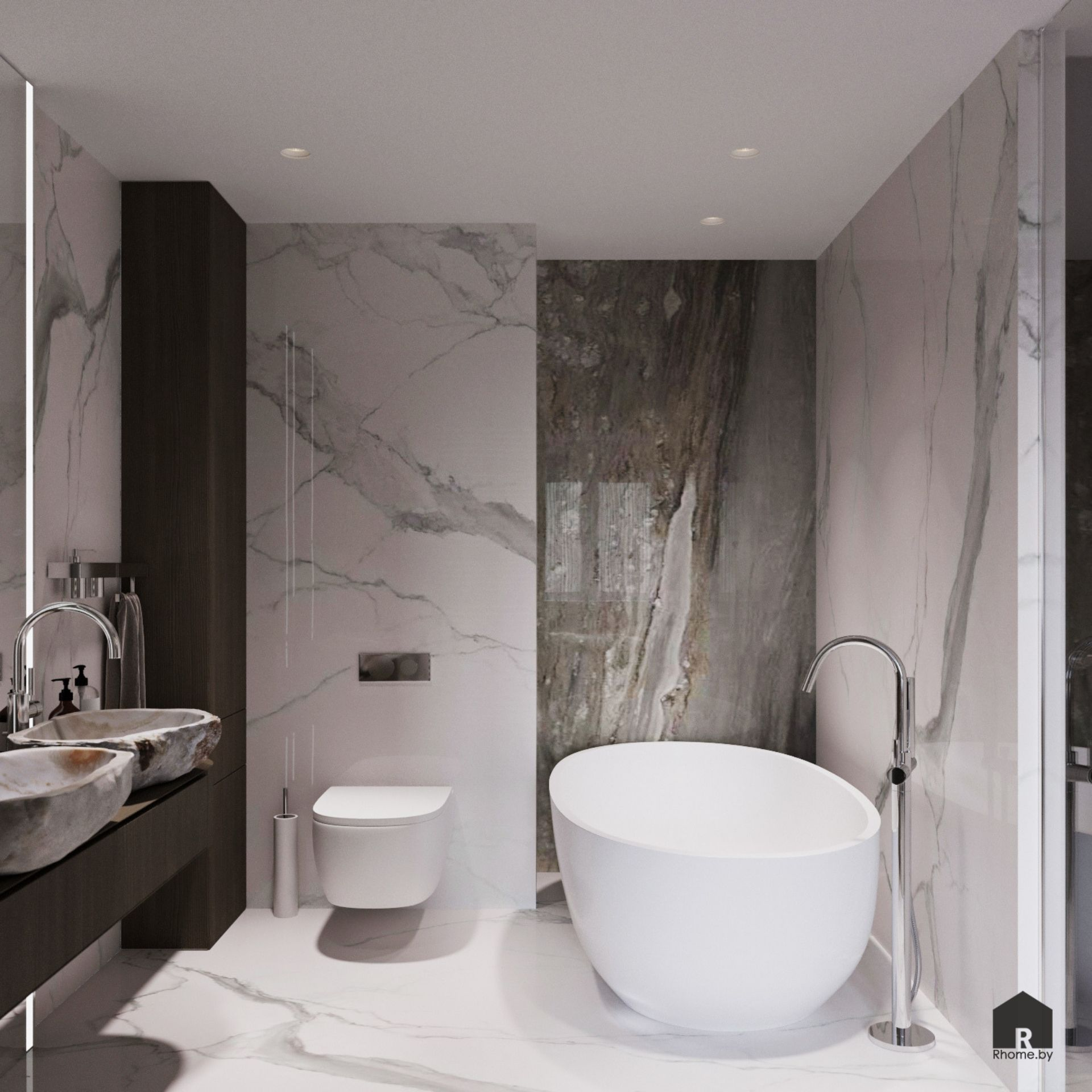 Светлая ванная комната с плиткой под камень