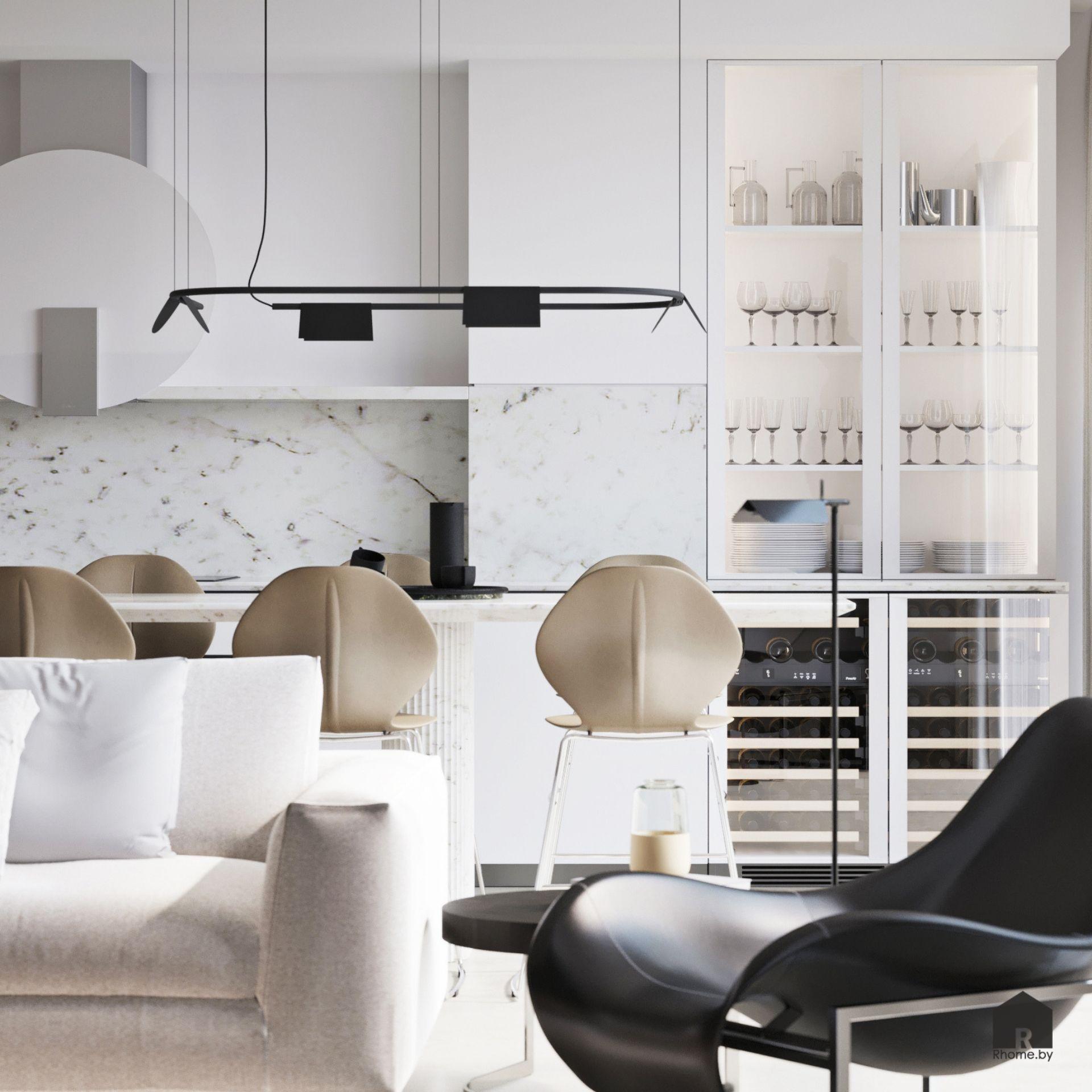 Светлая гостиная объединенная с кухней, стол-остров, бежевые стулья