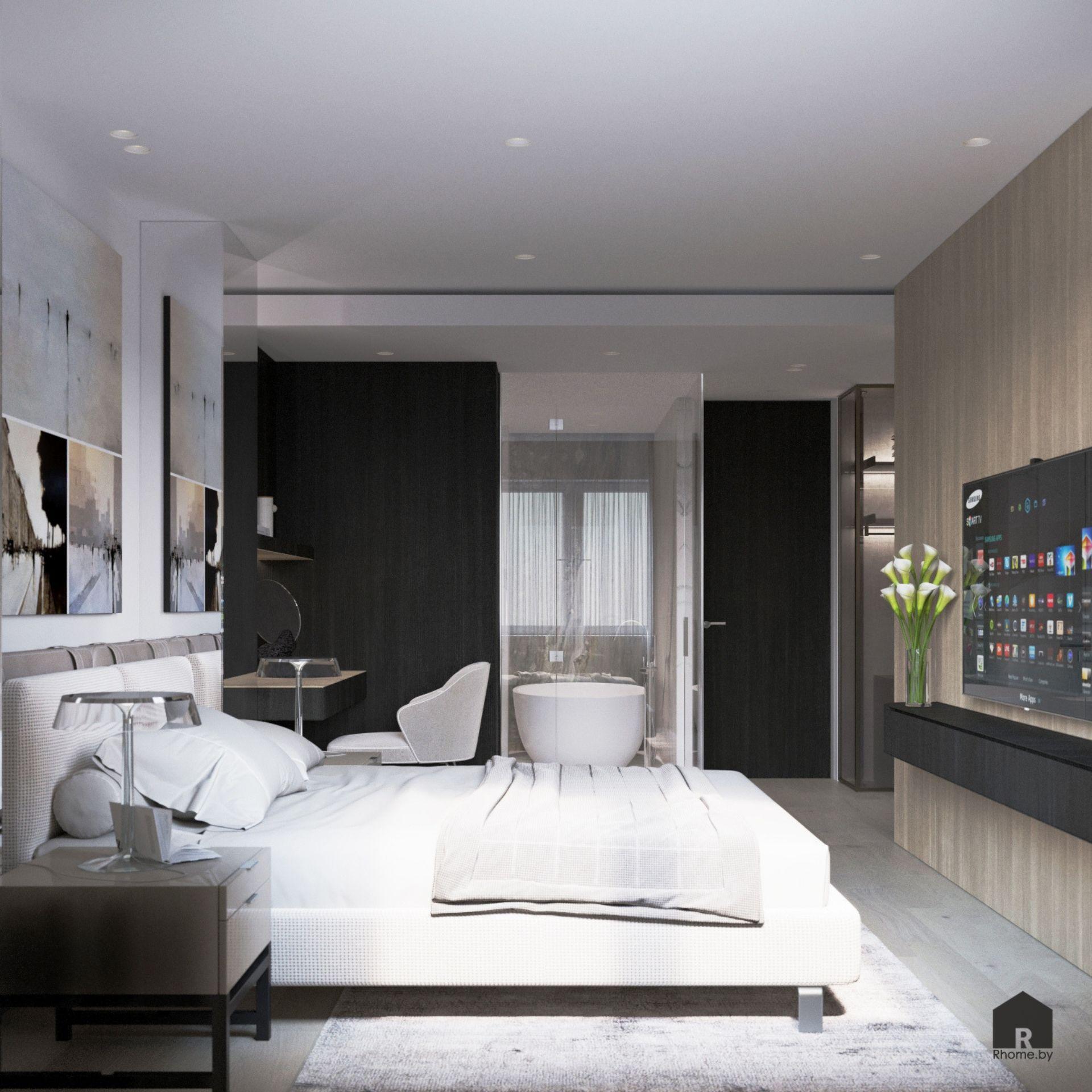 Светлая спальня и ванная комната со стеклянной стеной