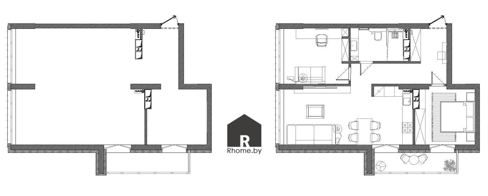 Планировка квартиры в ЖК «Minsk World» | Дизайн студия – Rhome.by