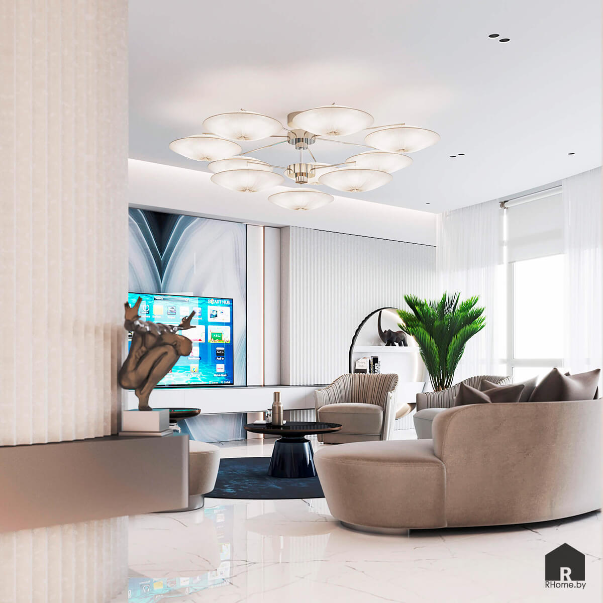 Квартира в Москве. Роскошная гостиная с большой люстрой и диваном с подушками и телевизором.