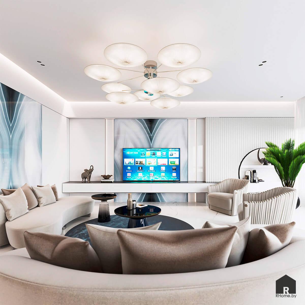 Квартира в Москве. ТВ-зона в гостиной перед диваном с атласными подушками и большой яркой люстрой на потолке.